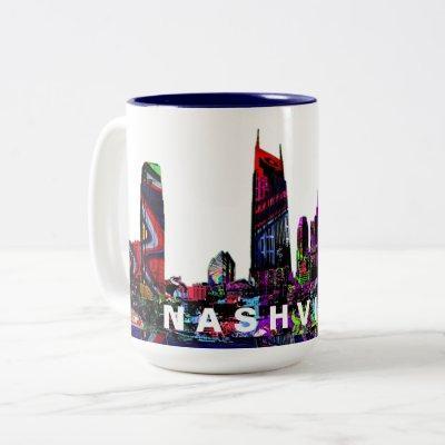 Nashville in graffiti Two-Tone coffee mug