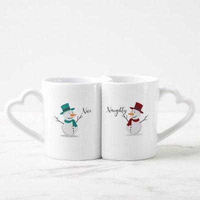 Naughty and Nice Christmas Mugs Gift Set - Snowmen