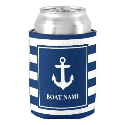 Nautical Anchor Navy Blue Striped Boat Name Can Cooler