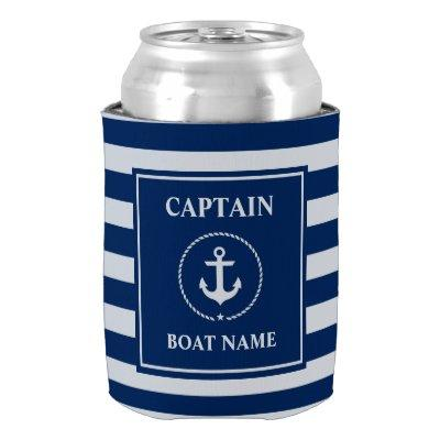 Nautical Anchor Rope Blue Striped Boat Captain Can Cooler