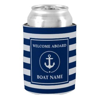 Nautical Anchor Rope Striped Boat Name Welcome Can Cooler