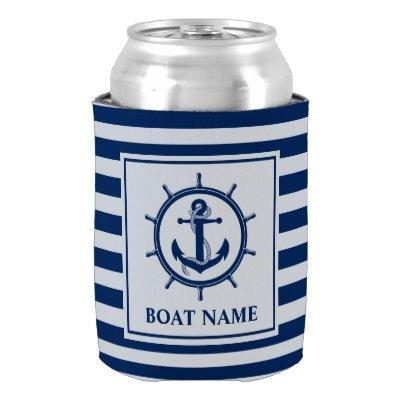 Nautical Anchor Rope Wheel Striped Boat Name Can Cooler