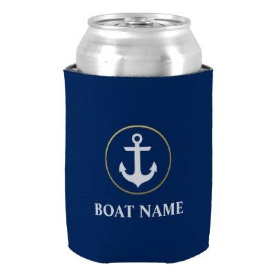 Nautical Boat Name Anchor Blue Gold Can Cooler
