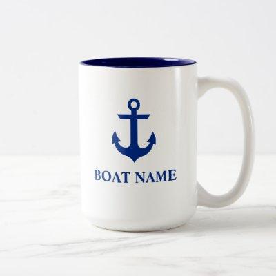 Nautical Boat Name Anchor Large Two-Tone Coffee Mug