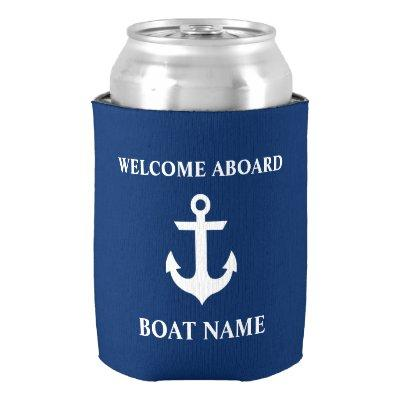 Nautical Boat Name Anchor Navy Blue Welcome Can Cooler