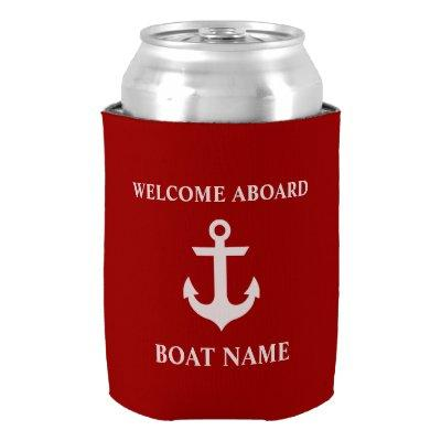 Nautical Boat Name Anchor Red Welcome Can Cooler