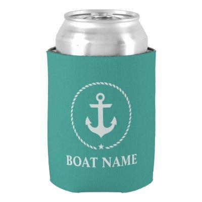 Nautical Boat Name Anchor Rope Can Cooler