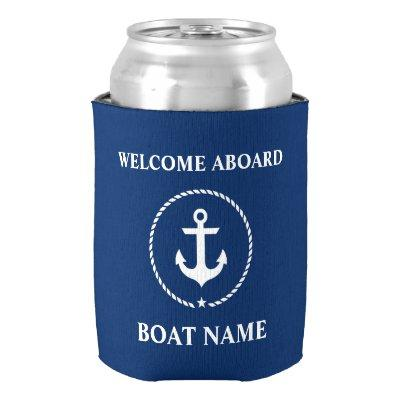 Nautical Boat Name Anchor Rope Welcome Aboard Can Cooler
