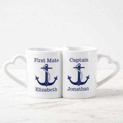 Nautical Captain and First Mate Couple's Coffee Mug Set