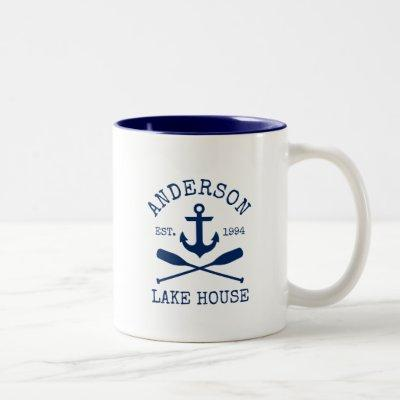 Nautical Family Name Lake House Blue Anchor Oars Two-Tone Coffee Mug
