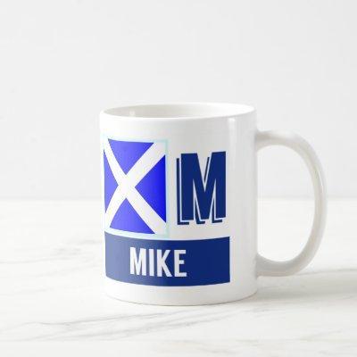 """Nautical Flag Alphabet """"M"""" Mike Coffee Mug"""