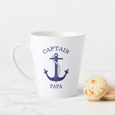 Nautical Navy Blue Anchor Captain Papa Latte Mug