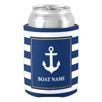 Nautical Navy Blue Striped Anchor Boat Name Can Cooler