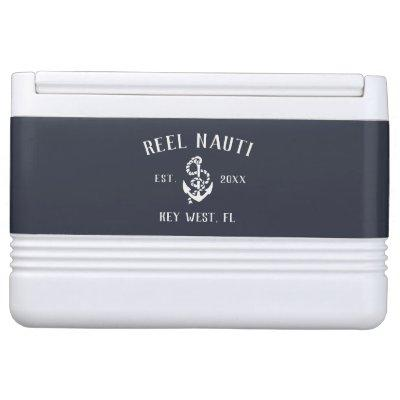 Nautical Navy Rustic Anchor Boat Name Cooler