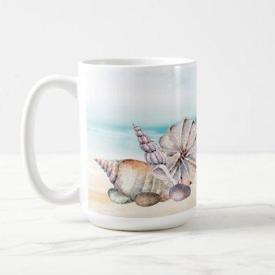 Nautical Watercolor Beach Seashells Coffee Mug