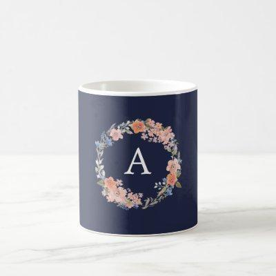Navy and Peach Floral Wreath Monogram Mug