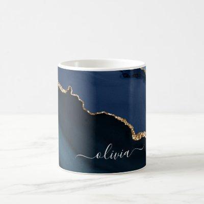 Navy Blue Agate Geode Gold Monogram Coffee Mug