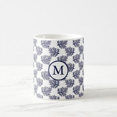 Navy blue corals on a white background wrapping pa coffee mug