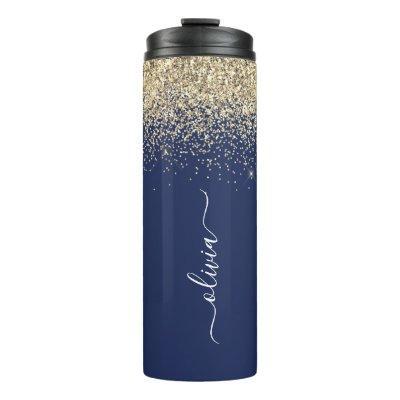 Navy Blue Gold Glitter Girly Monogram Name Thermal Tumbler
