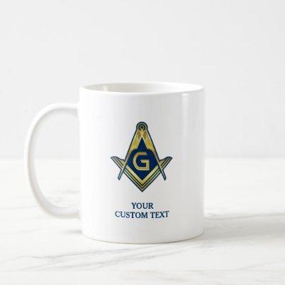 Navy Blue Gold Masonic Mugs | Freemason Home Gifts