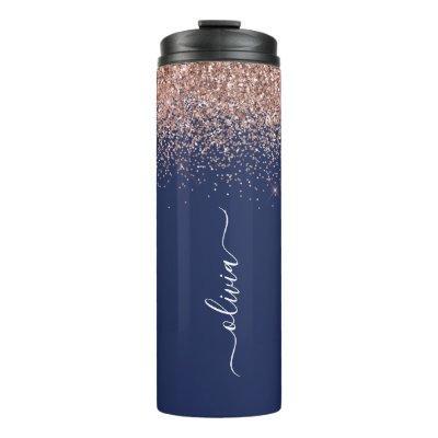 Navy Blue Rose Gold Blush Pink Glitter Monogram Thermal Tumbler