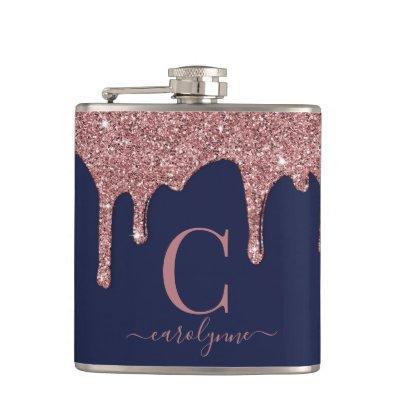 Navy Blue Rose Gold Sparkle Glitter Drips Monogram Flask