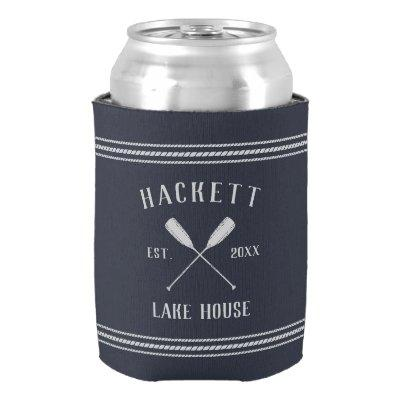 Navy Blue Rustic Oars Personalized Lake House Can Cooler
