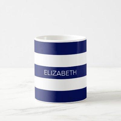 Navy Blue White Horiz Preppy Stripe #3 Monogram Coffee Mug