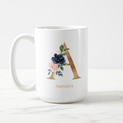 """Navy Blush Floral Monogram Letter """"A"""" Personalized Coffee Mug"""