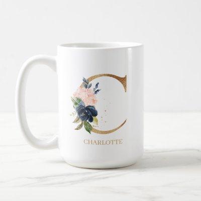 "Navy Blush Floral Monogram Letter ""C"" Personalized Coffee Mug"