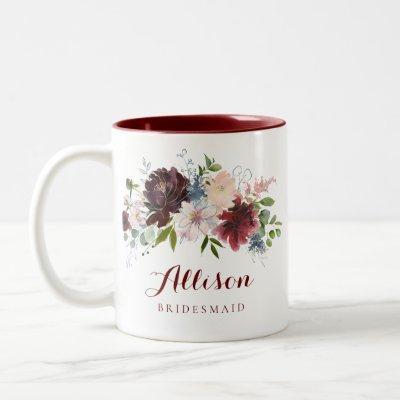 Navy Burgundy Floral Bridesmaid Gift Two-Tone Coffee Mug