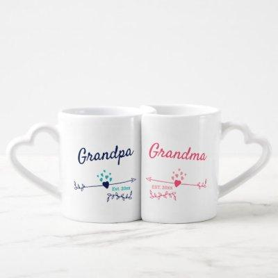 New Grandparents Pink and Blue His and Hers Coffee Mug Set