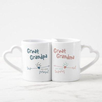 New Great Grandparents Personalized - Blue & Pink Coffee Mug Set