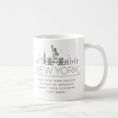 New York Stylized Skyline | Custom Slogan Coffee Mug