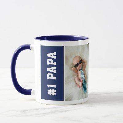 Number One Papa Navy Blue Custom 4 Photo Collage Mug