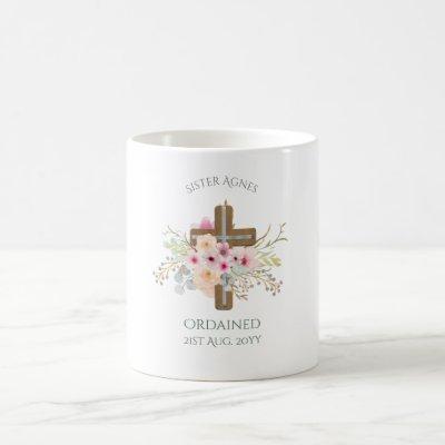NUN - Ordination or Anniversary - Floral Cross Coffee Mug