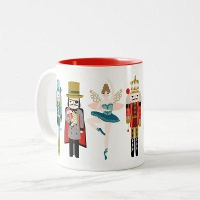 Nutcracker Ballet Characters Christmas Two-Tone Coffee Mug