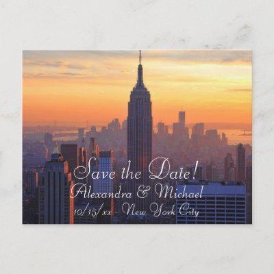 NYC Skyline: ESB Orange Sunset Save the Date Announcement Postcard