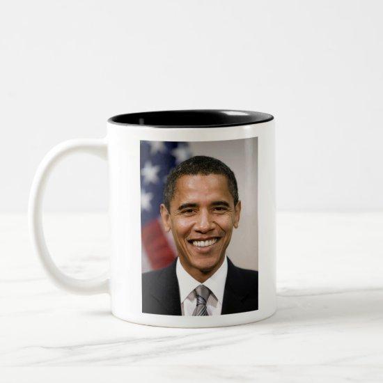 Official Portrait of Barack Obama Two-Tone Coffee Mug