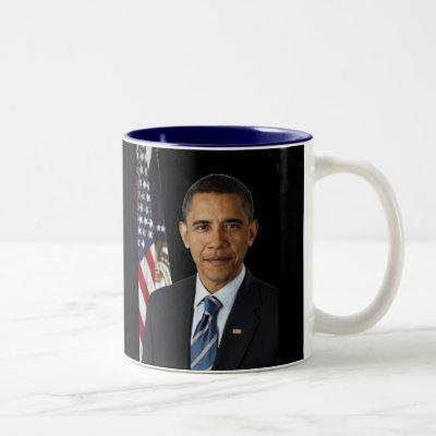 Official Portrait President Barack Obama, Black bk Two-Tone Coffee Mug