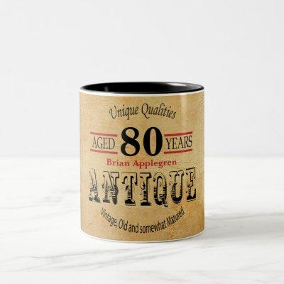 Old Timer 80th Birthday Two-Tone Coffee Mug