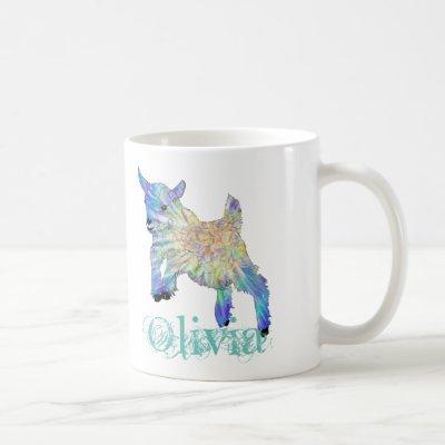 Olivia Colorful Cute Baby Goat Jumping Animal Art Coffee Mug