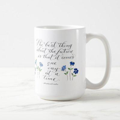one day at a time inspirational quote typography coffee mug