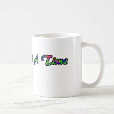 One Day At A Time mug - Rainbow letters