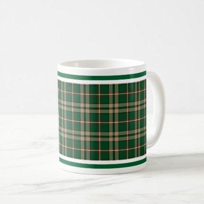 O'Neill Tartan Tan and Green Irish Plaid Coffee Mug