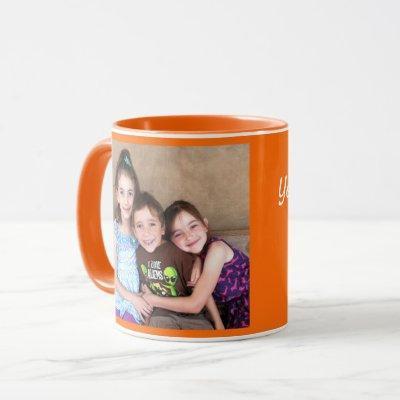 Orange Personalize PHOTO TEMPLATE Gift Coffee Mug