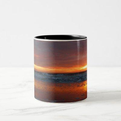 Orange sunset beach island of Texel Netherlands Two-Tone Coffee Mug