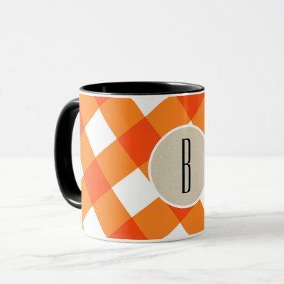 Orange White Plaid Kraft Rustic Monogram Initial Mug