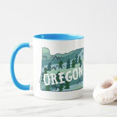 Oregon State Map Illustration Mug