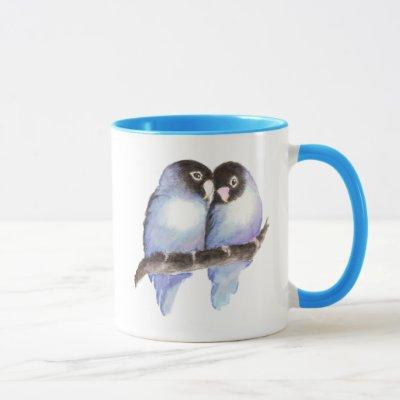 Original Watercolor Blue Lovebirds, Bird Mug